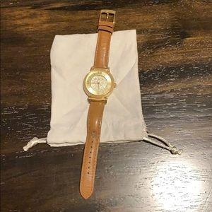 Women's Michael Kors Leather & Gold Watch